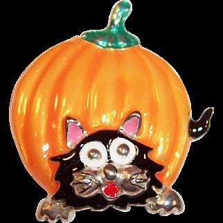 Halloween Pumpkin and Cat Pin