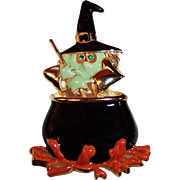 Large Halloween Witch and Cauldron Enamel Pin