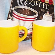 "SET of 2: Bright Yellow Hazelware ""Pebble"" Textured Stackable Mugs - Red Tag Sale Item"