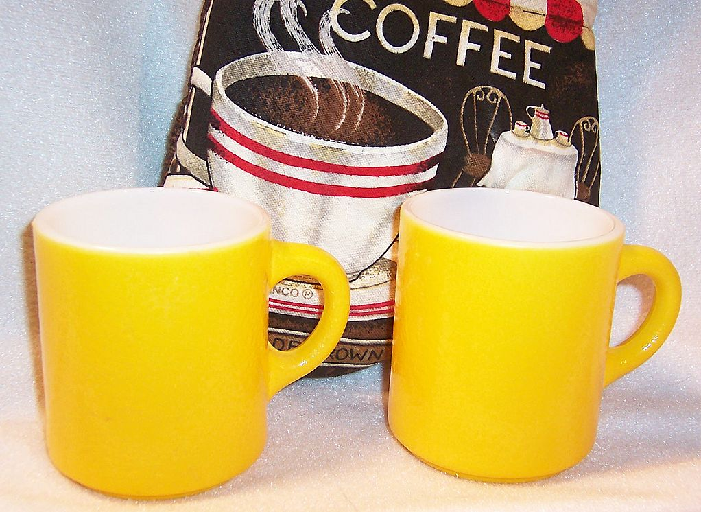 "SET of 2: Bright Yellow Hazelware ""Pebble"" Textured Stackable Mugs"