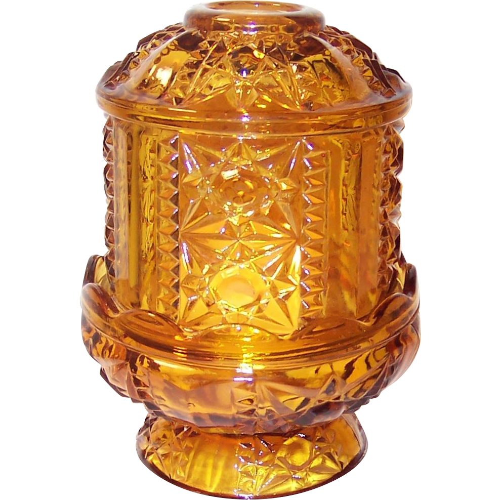 Indiana Glass Paneled Stars And Bars Pattern Amber Fairy Lamp : Ruthu0027s  Redemptions Antiques U0026 Collectibles   Ruby Lane