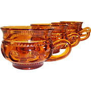 Set of 4: Vintage Amber King's Crown Cups