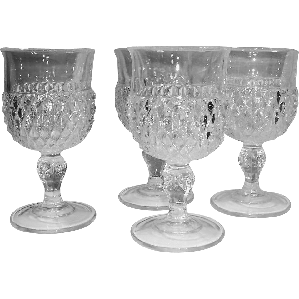 SET of 4: Clear Indiana Glass Diamond Point Water Goblets