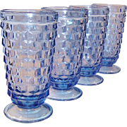 SET of 4: Vintage Blue Whitehall Cube Cubist Pattern 12 oz. Tumblers