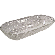 TWO Indiana Glass Pretzel Pattern Oblong Bowls