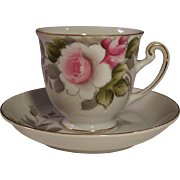 Occupied Japan Handpainted Rose Demitasse Cup Saucer Set