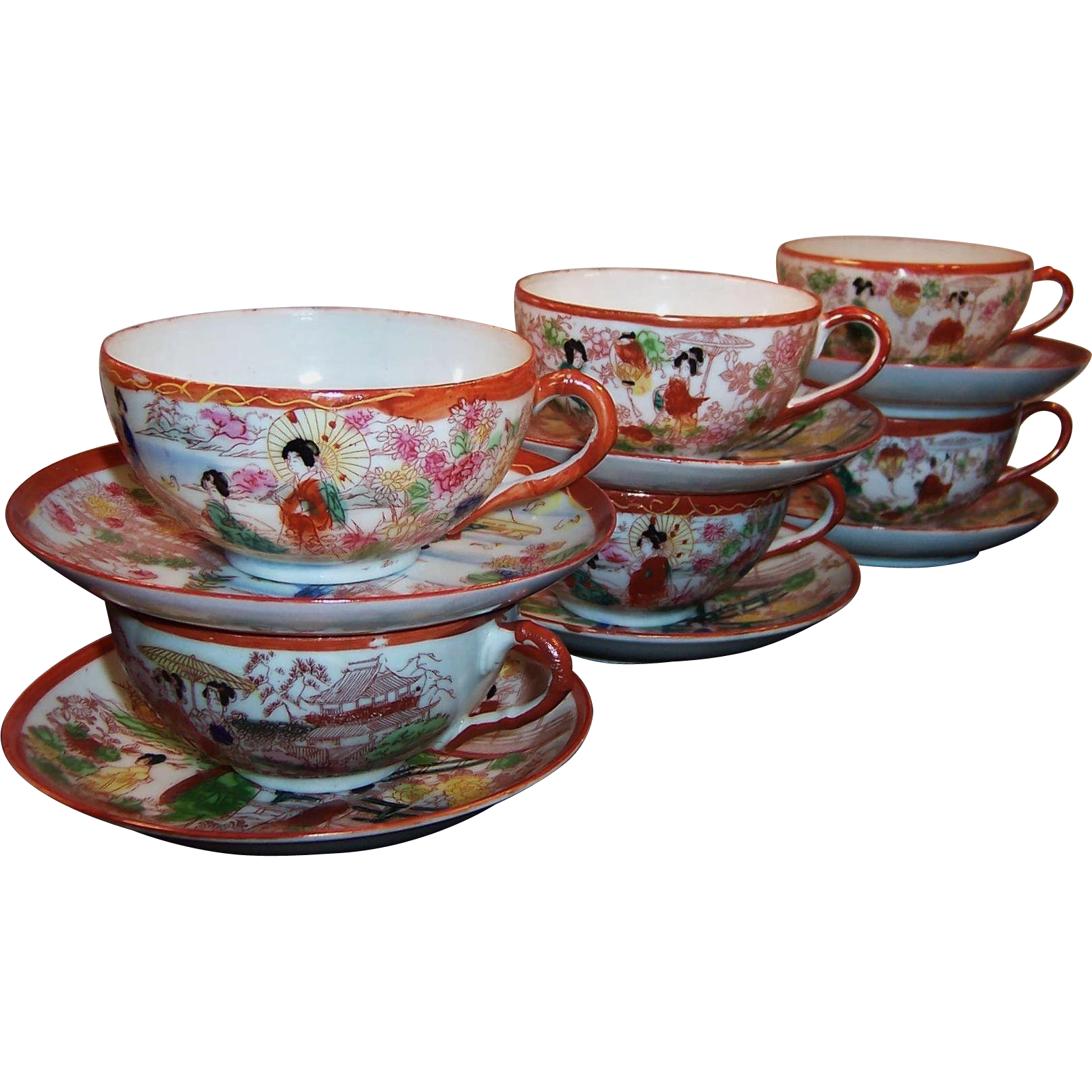 Set of 6:  Vintage Japanese Hand Painted Geisha Girl Cups and Saucer Sets