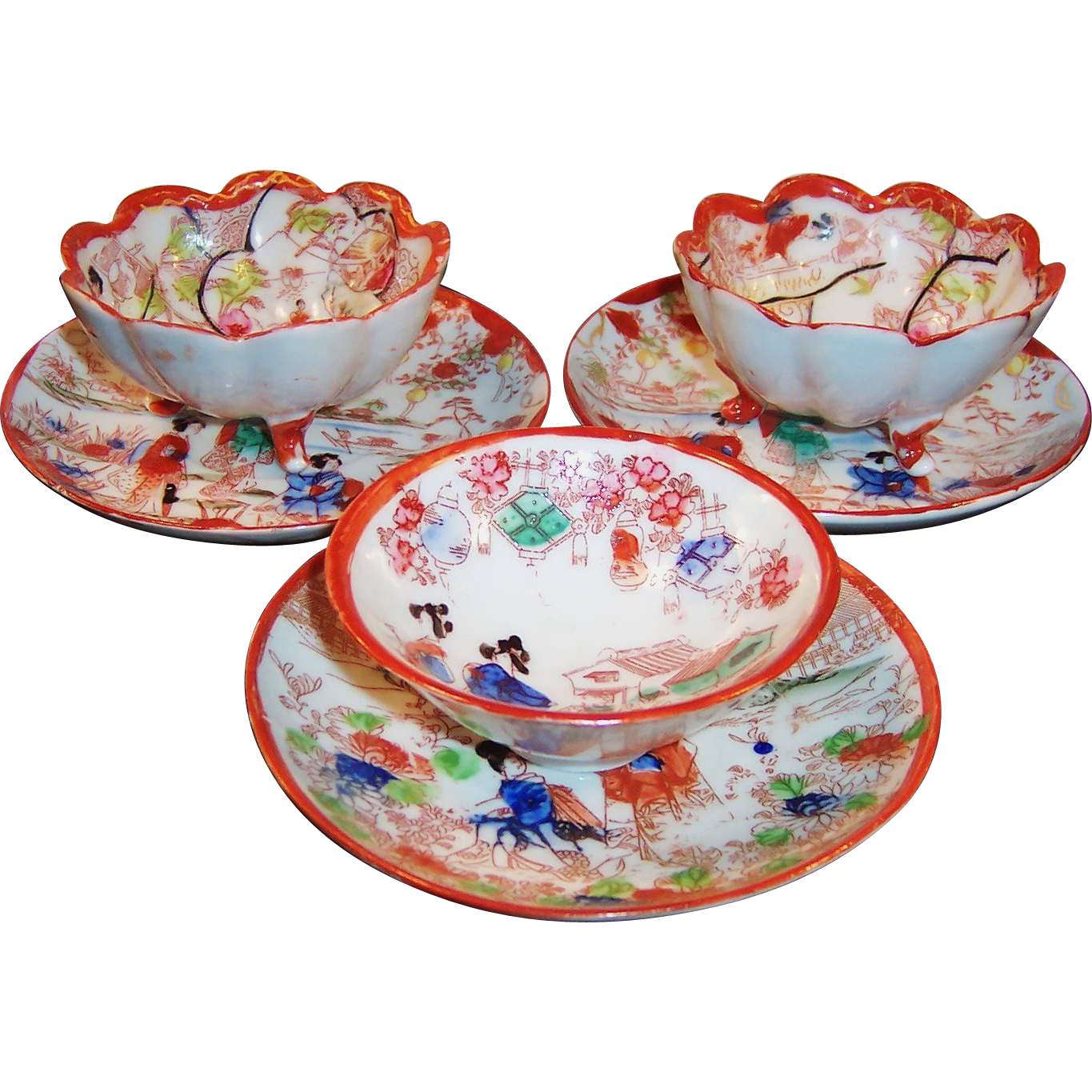 Vintage Geisha Girl Asian Bowls and Saucers