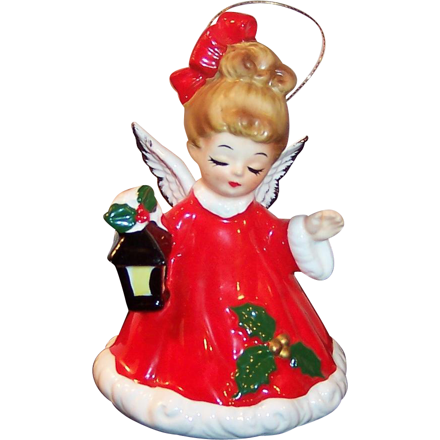 Josef Originals Christmas Angel  & Lantern Bell