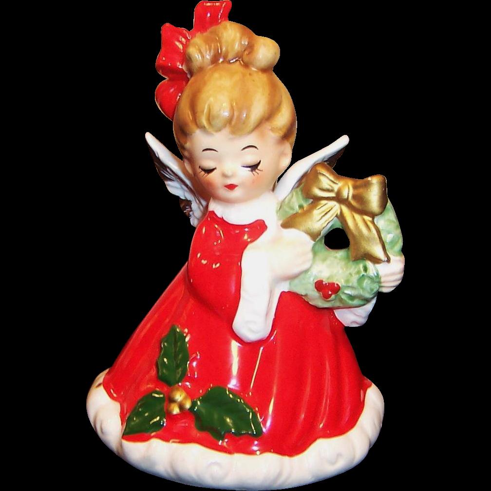 Josef Originals Christmas Angel  &  Wreath Bell