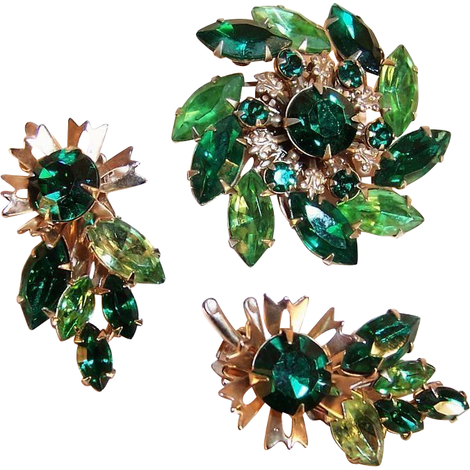 Shades of Green Pin Wheel Brooch & Earring Set