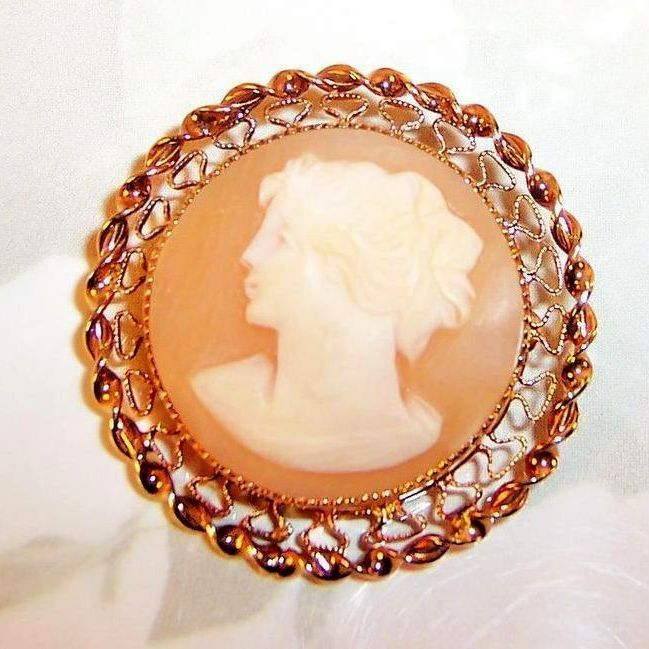 Signed: Catamore 12 Karat Gold Filled Bezel Set Cameo Brooch