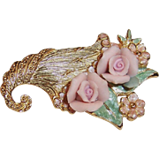 1928 Jewelry Co. Delicate Pink Porcelain Roses Brooch