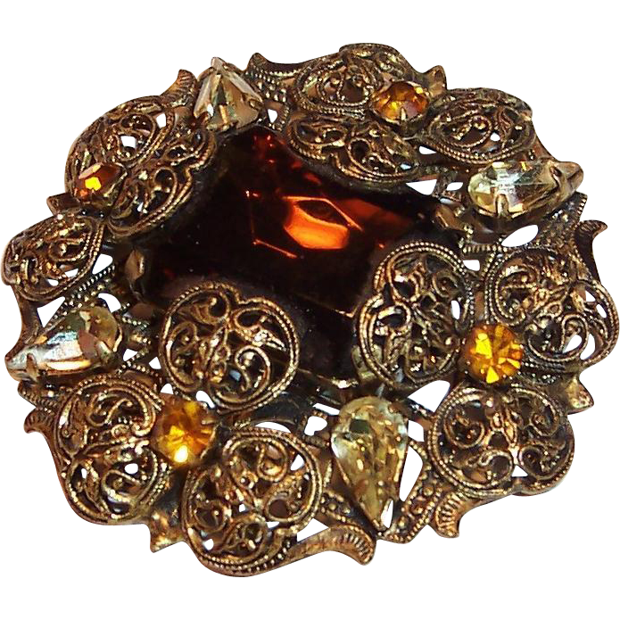 Large Amber Glass Stone , Rhinestones, and Filigree Brooch / Pin