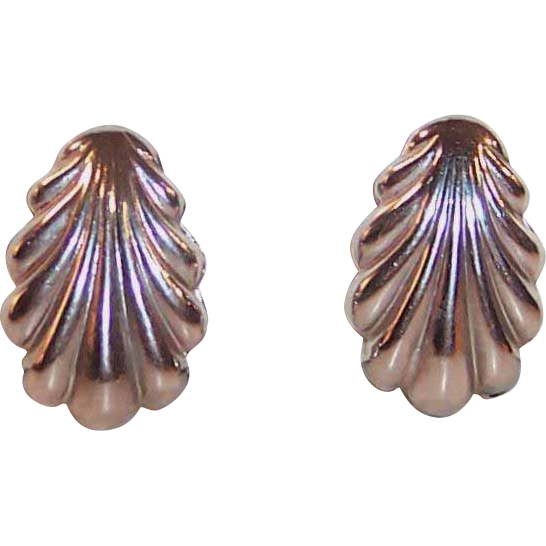 Signed Coro Shell Shaped Earrings