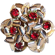 Signed Coro: Sparkling Deep Red Rhinestone Pin
