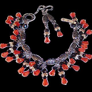 Orange and  Black Dangle Bracelet, Sterling Silver Earrings