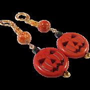 Jack-O-Lantern Pumpkin OOAK 14K Gold Plated Earrings