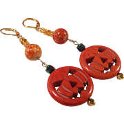 Jack-O-Lantern Pumpkin OOAK 14K Gold Plated Earrings