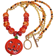 Jack-O-Lantern Pumpkin OOAK Necklace