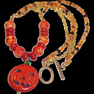 Jack-O-Lantern Pumpkin OOAK Necklace