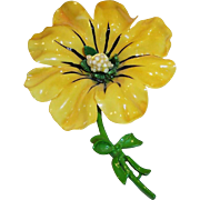 Large Vintage Sunny Yellow Plastic Flower Pin