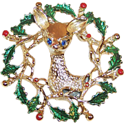 Gerry's Holly Wreath Deer Christmas Pin / Brooch