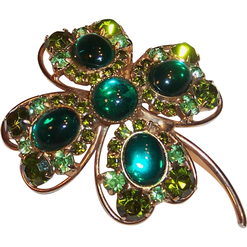 Lucky & Large Sparkling Hobe Four Leaf Clover Pin