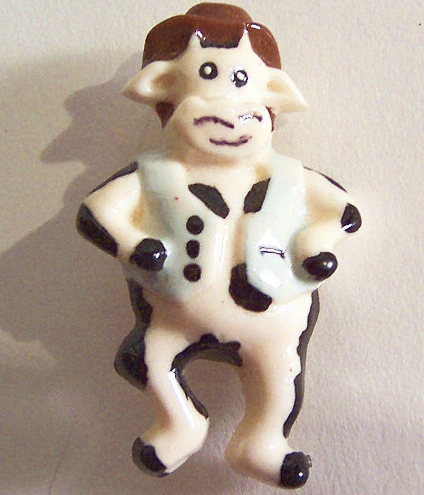 Novelty Cowboy Cow Figural Pin