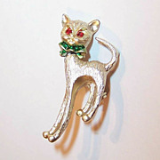 Vintage Riveted Christmas Cat Pin