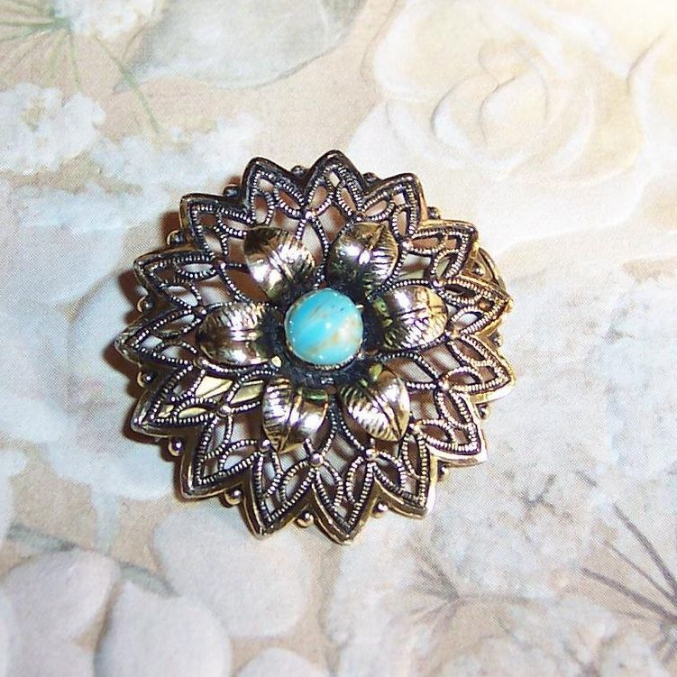 "Delicate 1 1/4""  Turquoise Brooch Signed: Germany"