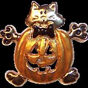 Crazy Cat PumpKin Pin