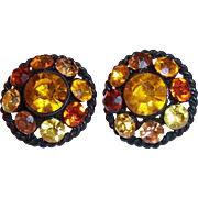 Vintage Amber Rhinestones Japanned Earrings