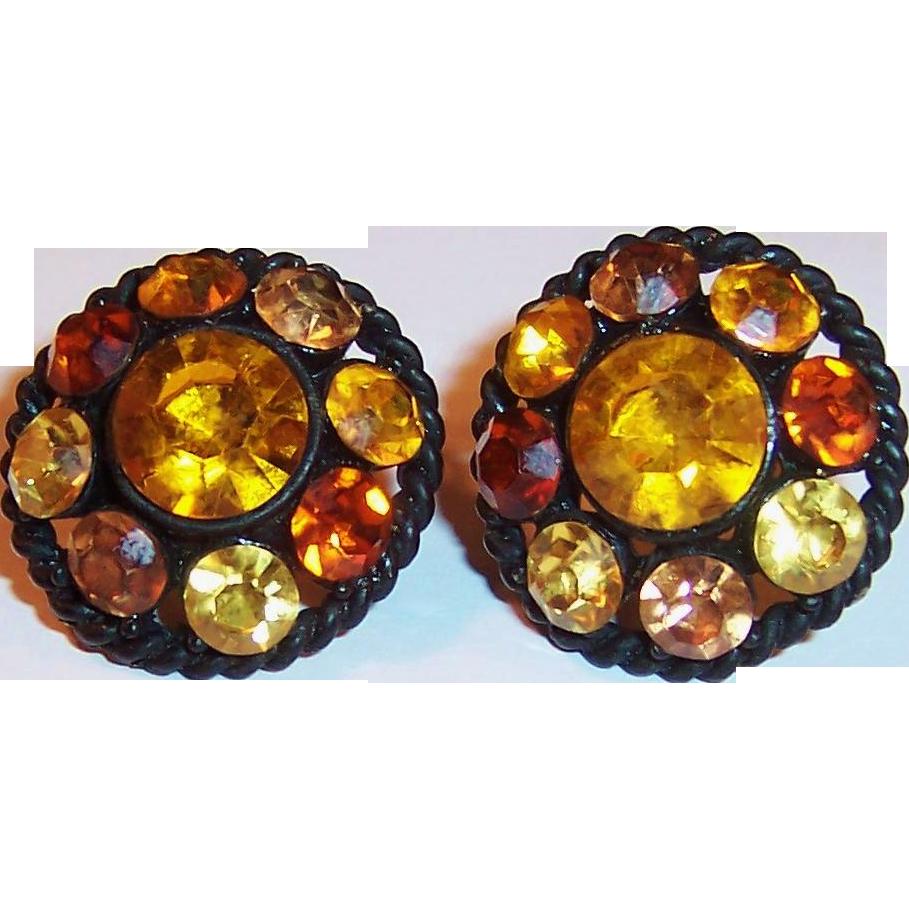 Vintage Amber Rhinestones Japanned Earrings