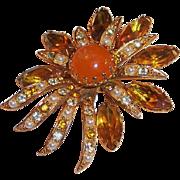 Large Fiery Warm Amber Vintage Brooch