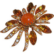 Large Fiery Warm Amber Vintage Brooch