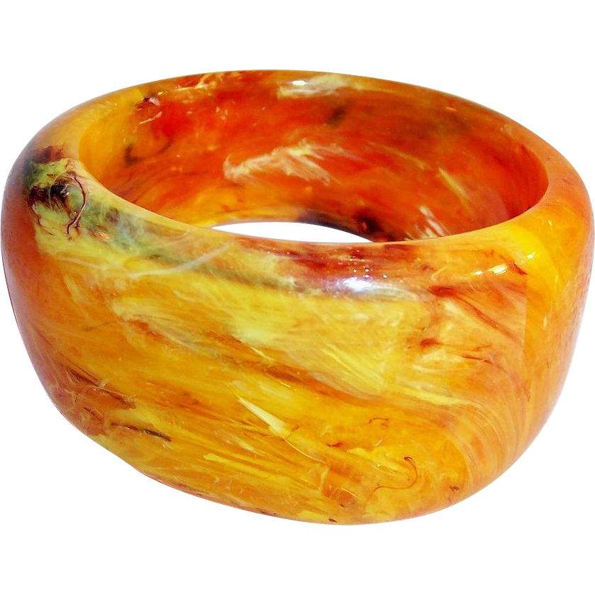 Chunky Marbled Lucite Butterscotch & Honey Bangle Bracelet