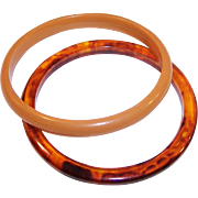 Butterscotch and Tortoise Color Plastic Bangles