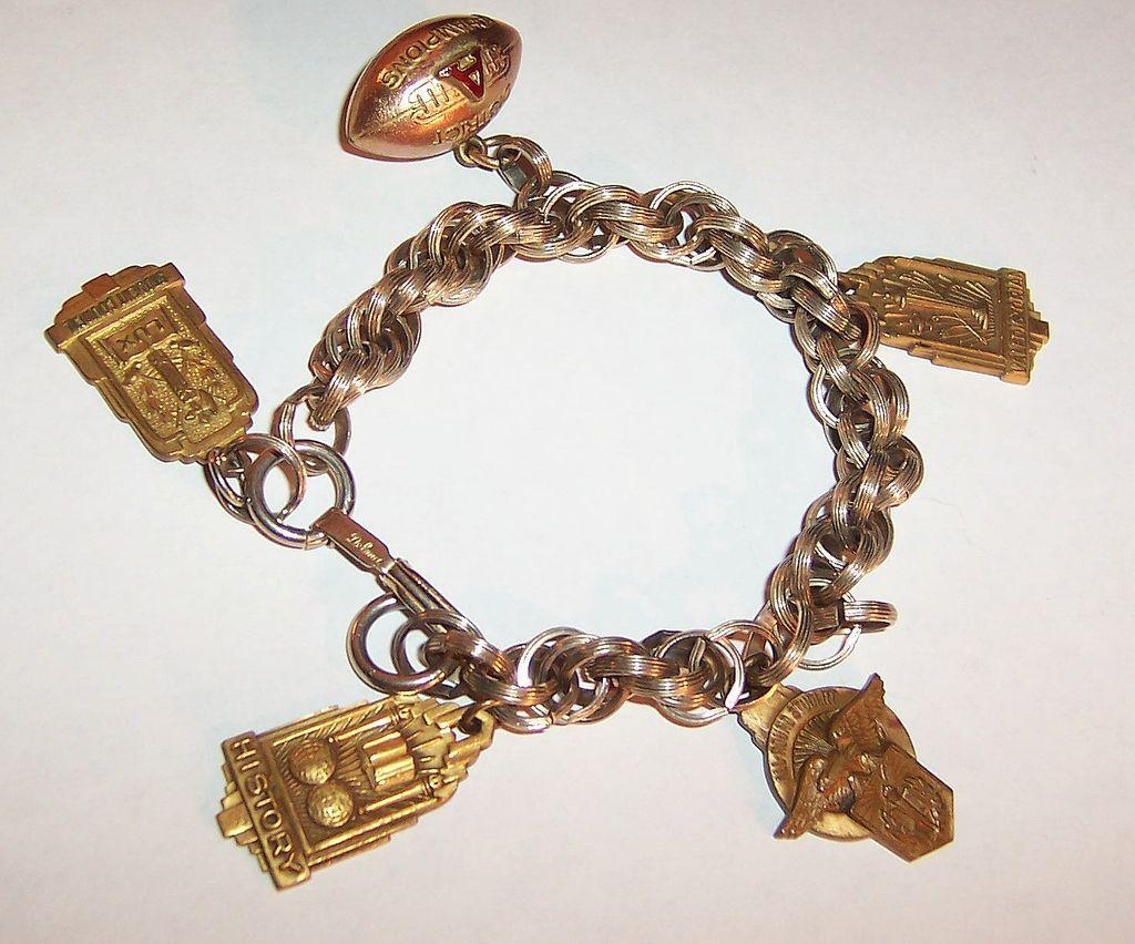 "1955 School Charms & 7 3/4"" Bracelet"