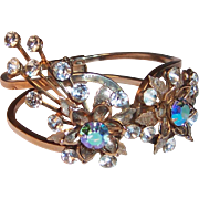 Aurora Borealis Floral Clamper Bangle Bracelet