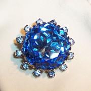 Ocean Blue Faceted Glass & Rhinestone Brooch
