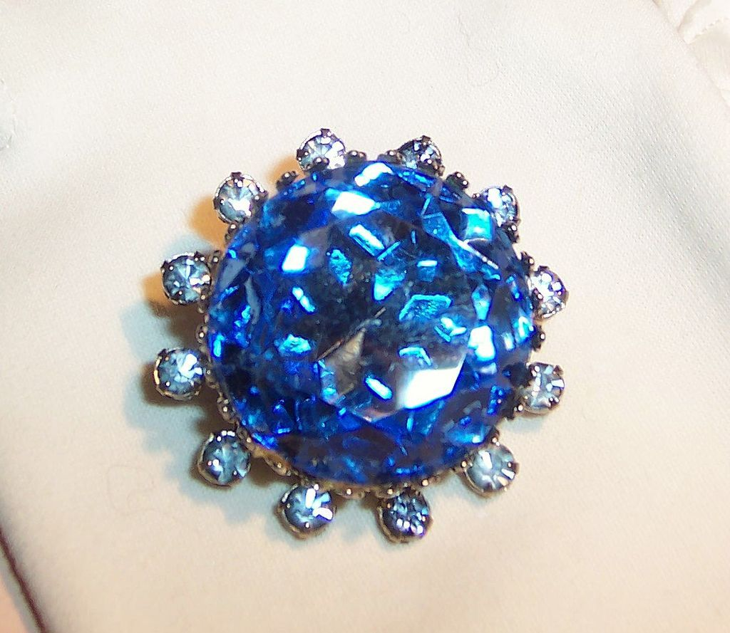 Ocean Blue Faceted Glass & Rhinestone Brooch