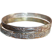 Embossed Mexico Mixed Metal Bangle Bracelets