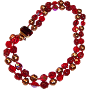 Gorgeous Vintage Glass Double Strand Red Beaded Choker Necklace