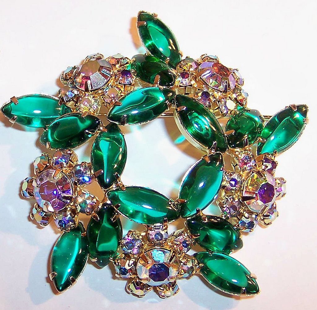 Large Sparkling Green Aurora Borealis Swirling Brooch