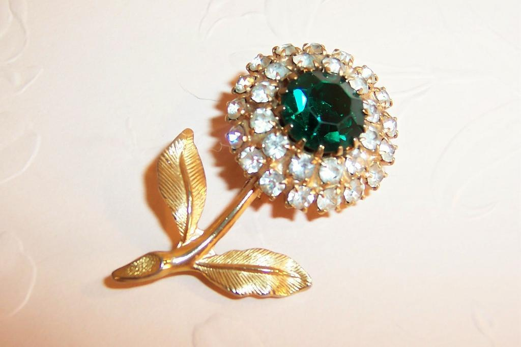 Sparkling Green Rhinestone Solitary Flower Pin / Brooch
