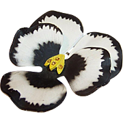 Vintage Black, White, & Yellow Pansy Pin