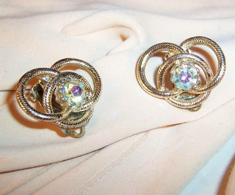 Vintage Rhinestone Love Knot Earrings