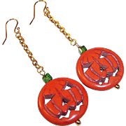 OOAK Handcrafted Jack-O-Lantern Earrings (Gold Plated Ear Wires)