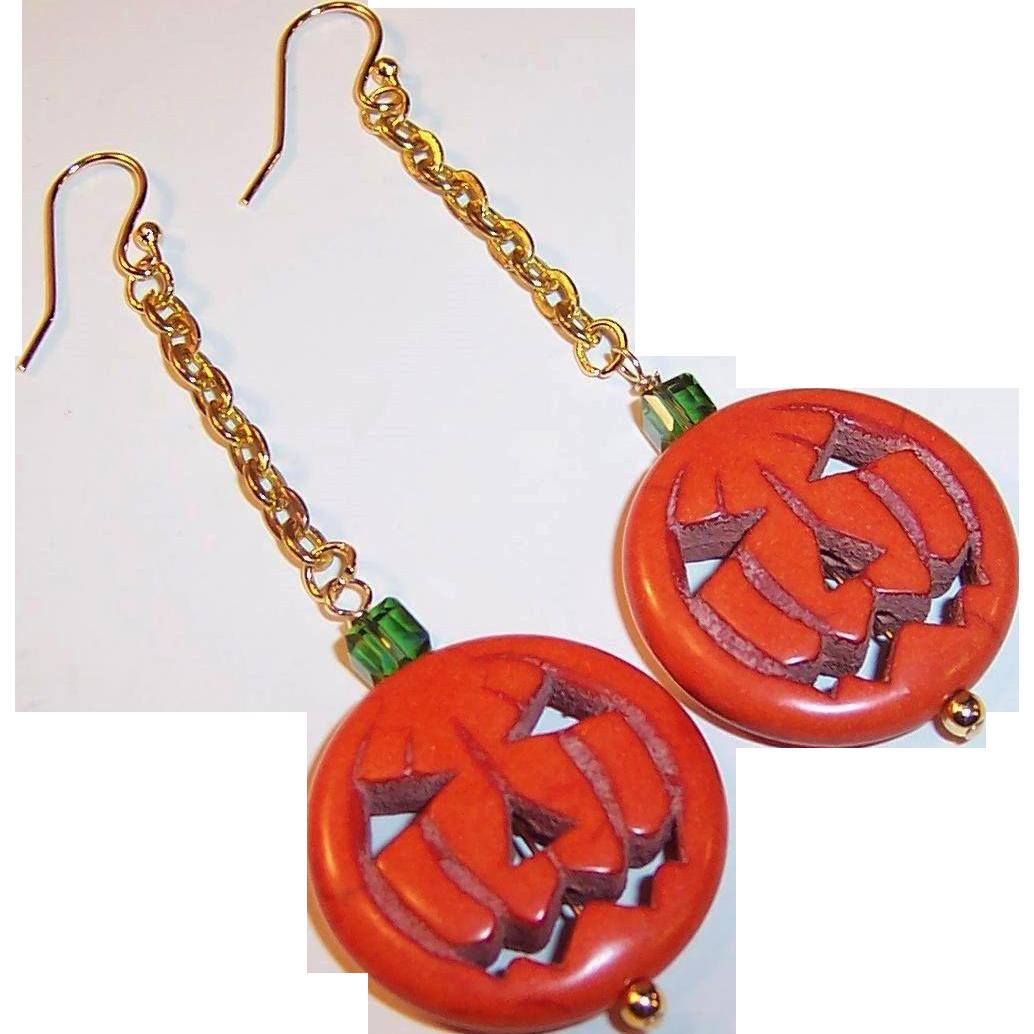 OOAK Handcrafted Jack-O-Lantern Earrings (Gold Plated Ear Wires)